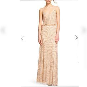 Adrianna  papell art deco champagne/ gold gown